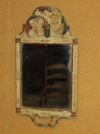 Rare Early 18th C William And Mary Folk Art Painted Cape Cod Courting Mirror photo