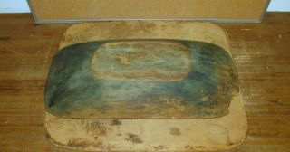 Rare Early 18th C American Carved Wooden Oval Trencher In Grungy Old Blue Paint photo