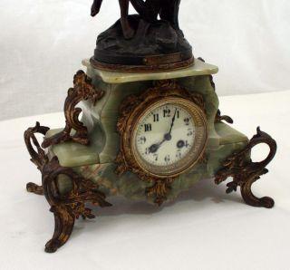 Hughe French Clock Japy Freres Movement Gracieus Statue Par Bruchon photo