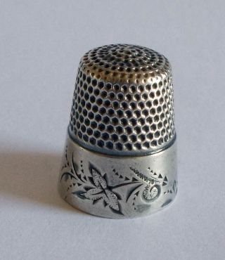 Thimble - Waite,  Thresher - Sterling Silver - Folk Art Leaves - C1880s photo