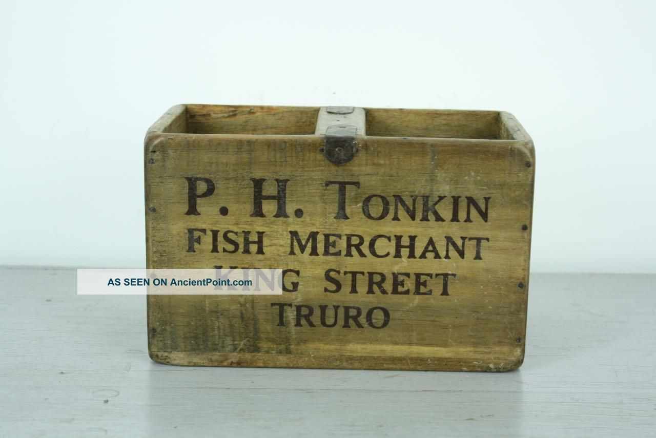 Vintage Wooden Fish Crate Trug Box Industrial Planter S11 Cod Truro Reproduction Boxes/Chests photo