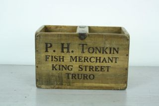 Vintage Wooden Fish Crate Trug Box Industrial Planter S11 Cod Truro photo
