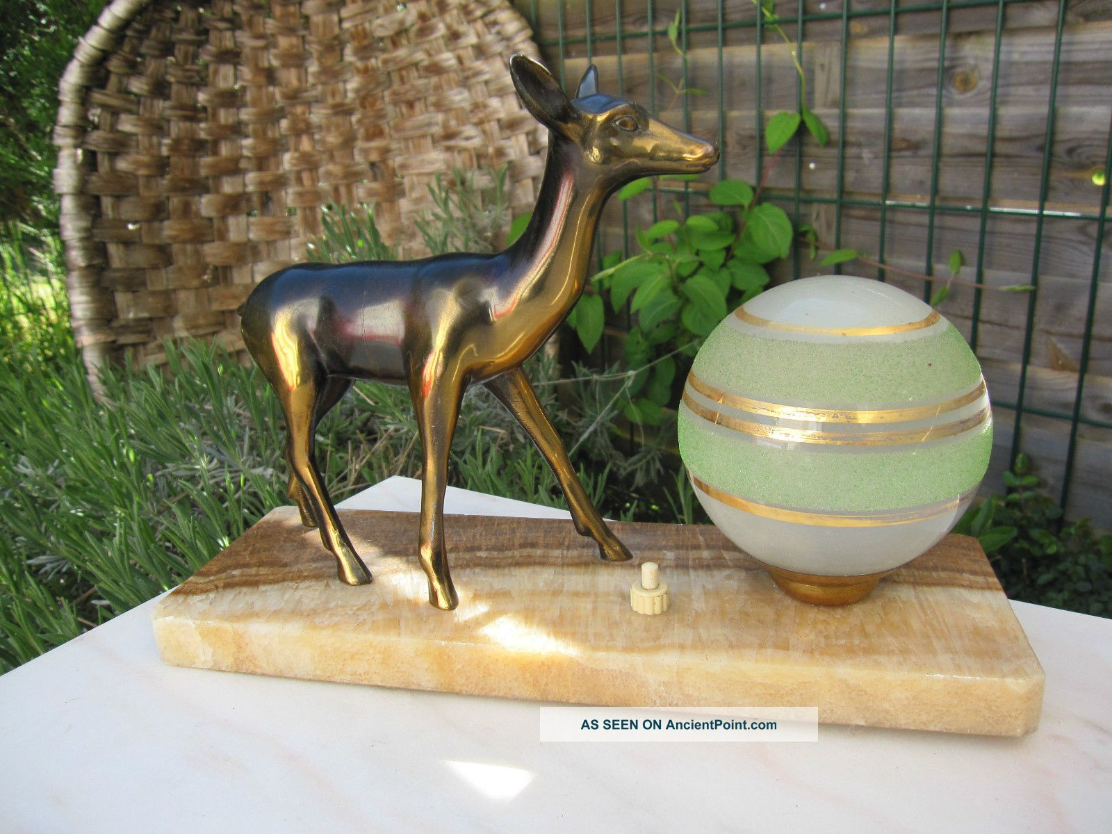 Vintage French Art Deco Lamp Roe Deer Sculpture Figurine Glass Marble Lighting 20th Century photo