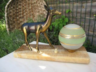 Vintage French Art Deco Lamp Roe Deer Sculpture Figurine Glass Marble Lighting photo