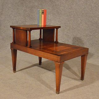 Antique Style Table Two Tier Library Step Burr Walnut Veneer Mid - 20th Century photo
