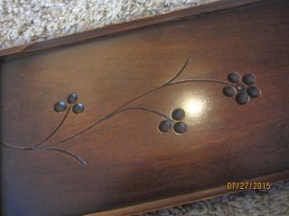 1890 Spoon Carved Eastlake Furniture Pediment Walnut Victorian Library Panel Old photo