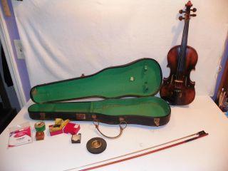 Antique 4/4 Karl Hofner Stradivarius Copy Violin W/ Bow Reisin & Case:kh Germany photo