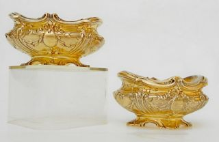 Antique 19ct French Silver Vermeil Salt Cellar Pair In Form Of Jardiniere Empire photo