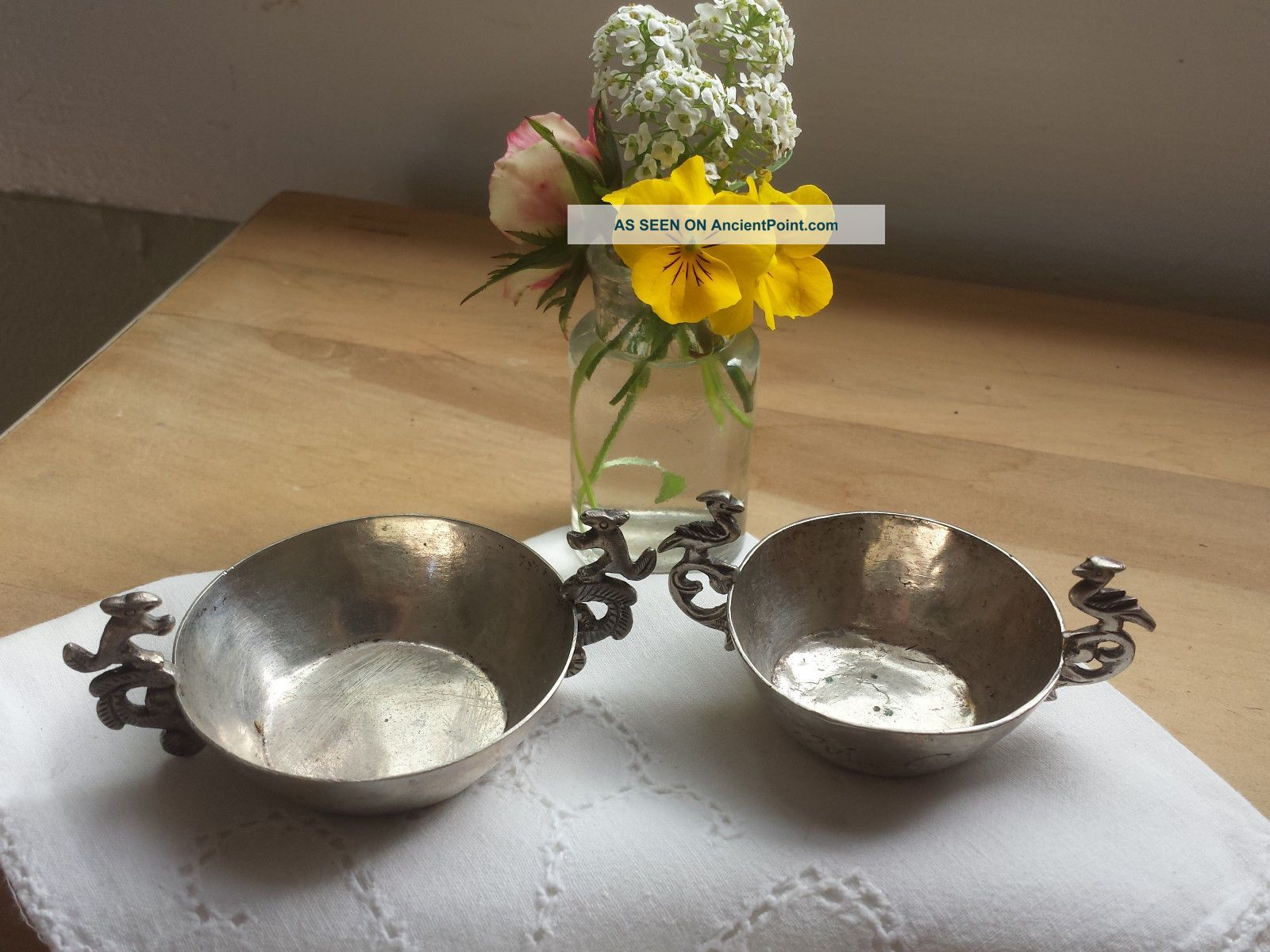 2 Vtg Road Runner & Squirrel Handle Rustic Silver Plate Nesting Nut/candy Dishes Dishes & Coasters photo