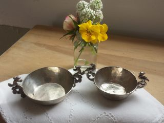 2 Vtg Road Runner & Squirrel Handle Rustic Silver Plate Nesting Nut/candy Dishes photo