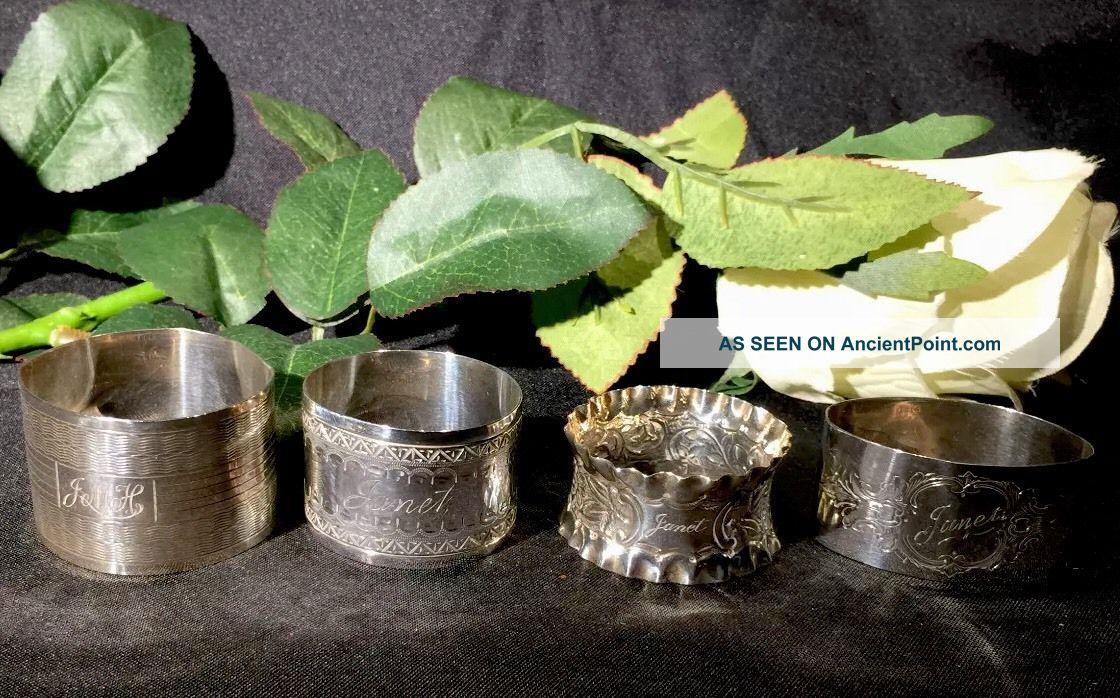 4 Silver Napkin Rings - 1895 / 1896 / 1920 / 1922 - Incl James Dixon Napkin Rings & Clips photo