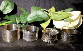 4 Silver Napkin Rings - 1895 / 1896 / 1920 / 1922 - Incl James Dixon photo