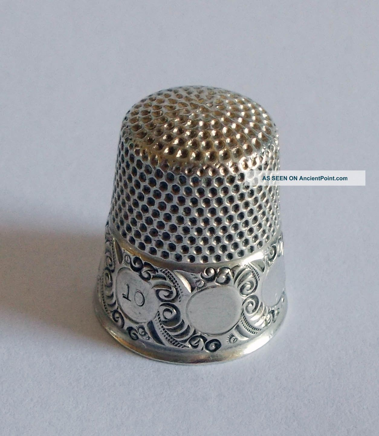Sterling Silver Thimble - Ketcham & Mcdougall - Circles On Scrolled Background Thimbles photo