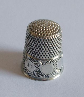 Sterling Silver Thimble - Ketcham & Mcdougall - Circles On Scrolled Background photo