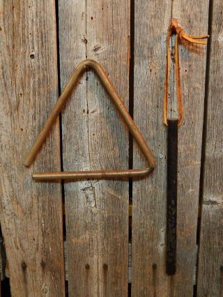 Vintage Primitive Old Country Farm House Iron Triangle Dinner Bell photo