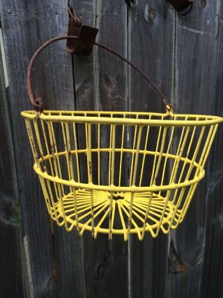Vintage Primitive Egg Potato Farm Gathering Yellow Wire Basket Looks photo