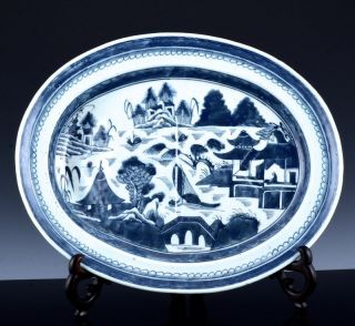 Large C1800 Chinese Qianlong Jiaqing Canton Blue White Well N Tree Platter Tray photo