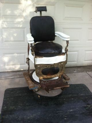 Antique Theo A Kochs Chicago Barber Tattoo Salon Chair Hydraulic photo