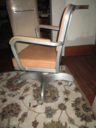Vintage Cole Steel Office Chair Industrial Aluminum Tank Chair Swivel Tilt Ex photo