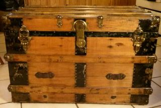 1800 ' S Antique Victorian Flat Top Steamer Trunk Chest With Lift Out Tray photo