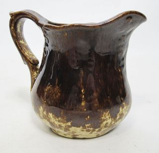 Antique 19th C Rockingham Bennington Glaze Pottery Creamer Miniature Pitcher Yqz photo