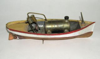 Early Live Steam Launch Boat Hand Painted Copper - Rare Ives Carette (dakotapaul photo