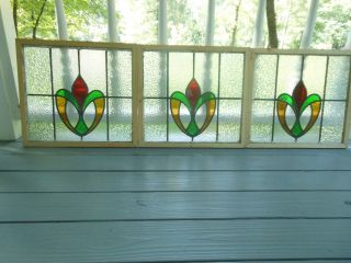 Rd132 Lovely Older English Leaded Stained Glass Window Reframed 3 Available photo