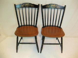 Hitchcock Chair Co Black/harvest Stonington Side Chairs Usedhitchcockdotcom photo