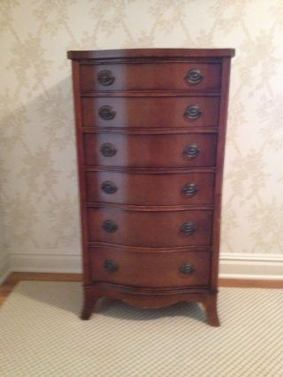 Antique Serpentine Mahogany Dresser,  Circa 1920 photo