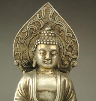Old Tibet Buddhism Silver Dragon Sakyamuni Shakyamuni Amitabha Buddha Statue Nr photo