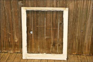 Vtg Wood Window Sash Single Pane Glass Picture Frame White 1 Shabby Salvage Chic photo