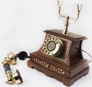 Tring Sound Old Times Vintage Wooden Brass Telephone With Antique Draw Tp 014 photo