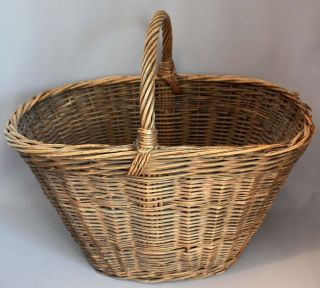 Vintage Antique Large Gathering Basket Twig Vine W/ Twisted Handle photo