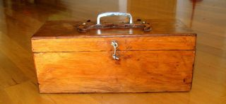 Primitive Hand - Crafted Pine Tool,  Tackle,  Craft,  Folk Art Box,  Vtg Outsider Art photo