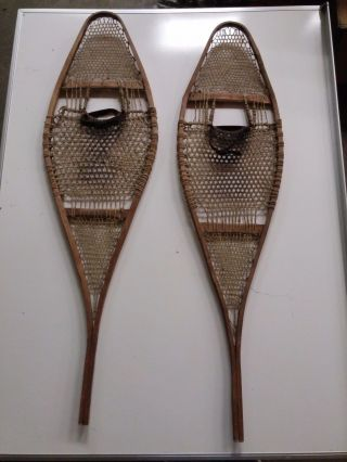 Antique Wooden Snowshoes Art Deco Wall Hanging Man Cave Decoration photo