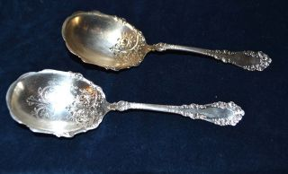 2 1847 Rogers Bros Silverplate Berkshire (1897) Berry,  Casserole Spoons photo