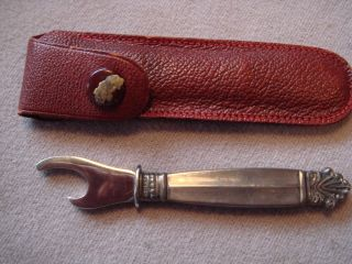 Sterling Silver Handle Georg Jensen (?) Denmark Bottle Opener In Red Leather Case photo