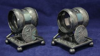 1 Pair Silver Napkin Ring Holders - Meriden B.  Company - Quadruple Plate - 1866, photo
