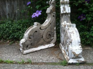 Antique Pair Victorian Corbels Brackets Architectural Salvage Chippy Paint Wood photo