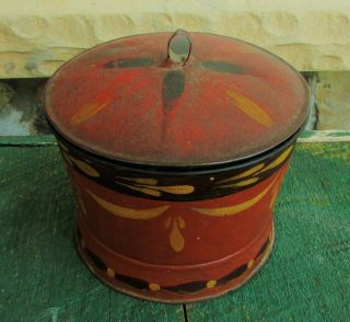Antique American Tole Covered Sugar Jar photo