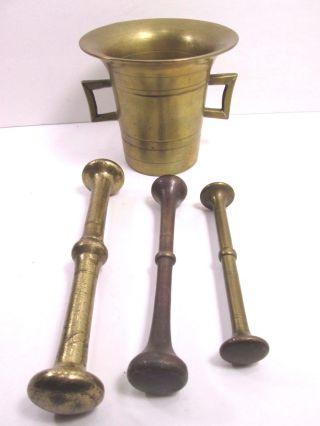 Antique Circa 1881 Bronze Brass Large Mortar & Pestle Pharmacy 3 Pestles photo