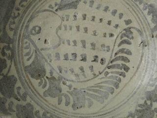 Fine Sukhothai Stoneware Plate - Fish&floral - Black Iron Oxide Underglaz - Diam 27cm photo
