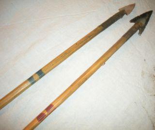 Antique C.  1870s Plains Native American Indian Arrows W/ Arrowheads & Paint Vafo photo