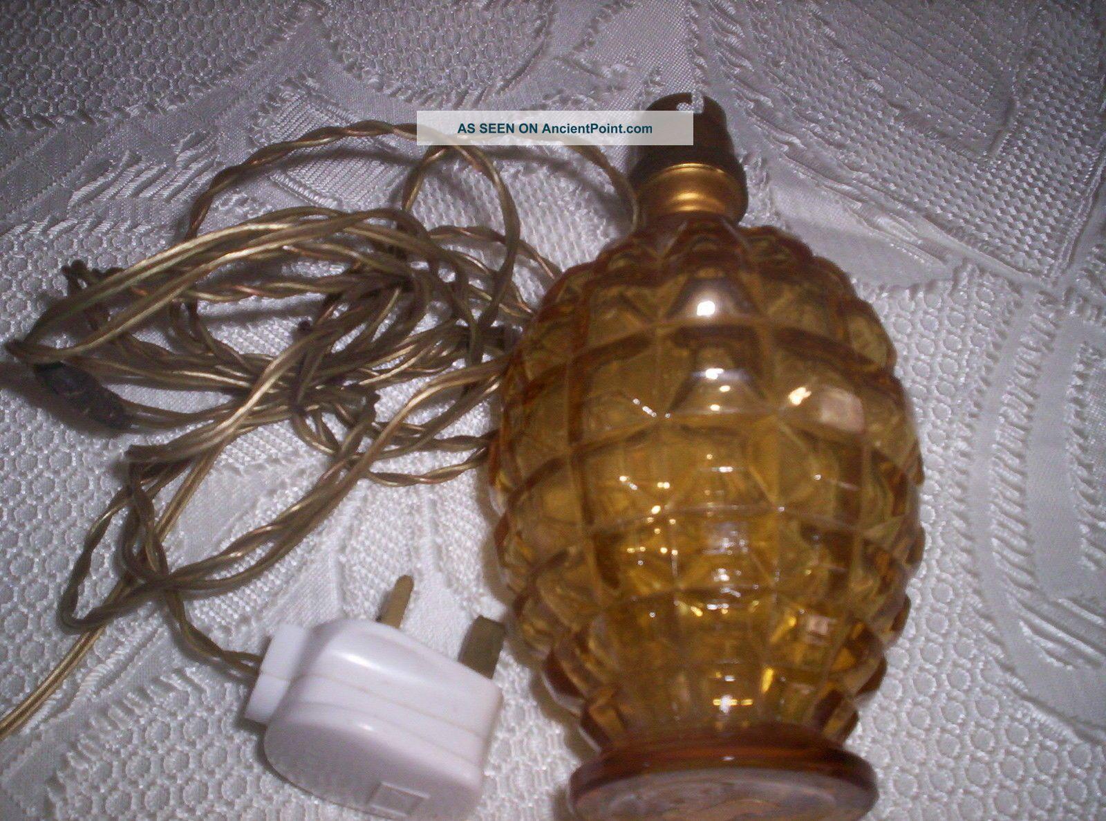 Vintage 1940 \1950 Glass Lamp Base [amber] 20th Century photo
