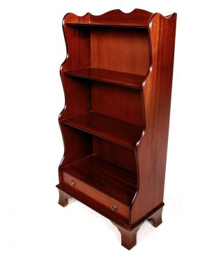 Antique Mahogany Bookcase Waterfall Open Bookshelves Repro Vintage English photo