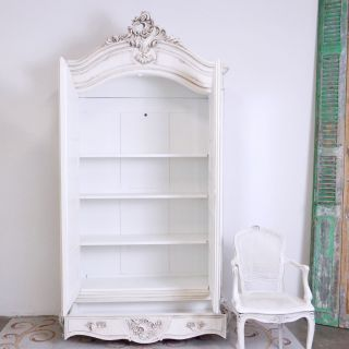 Shabby Cottage Chic Vintage Louis Xv Vintage Blanc White Armoire Mirror Wardrobe photo