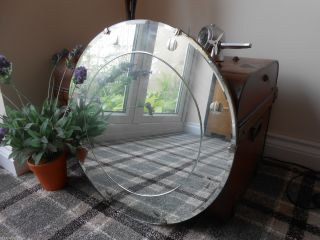 Vintage Art Deco Large Circular Bevelled Edge Etched Antique Frameless Mirror photo