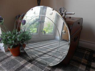 Vintage Art Deco Large Circular Bevelled Edge Etched Antique Frameless Mirror photo