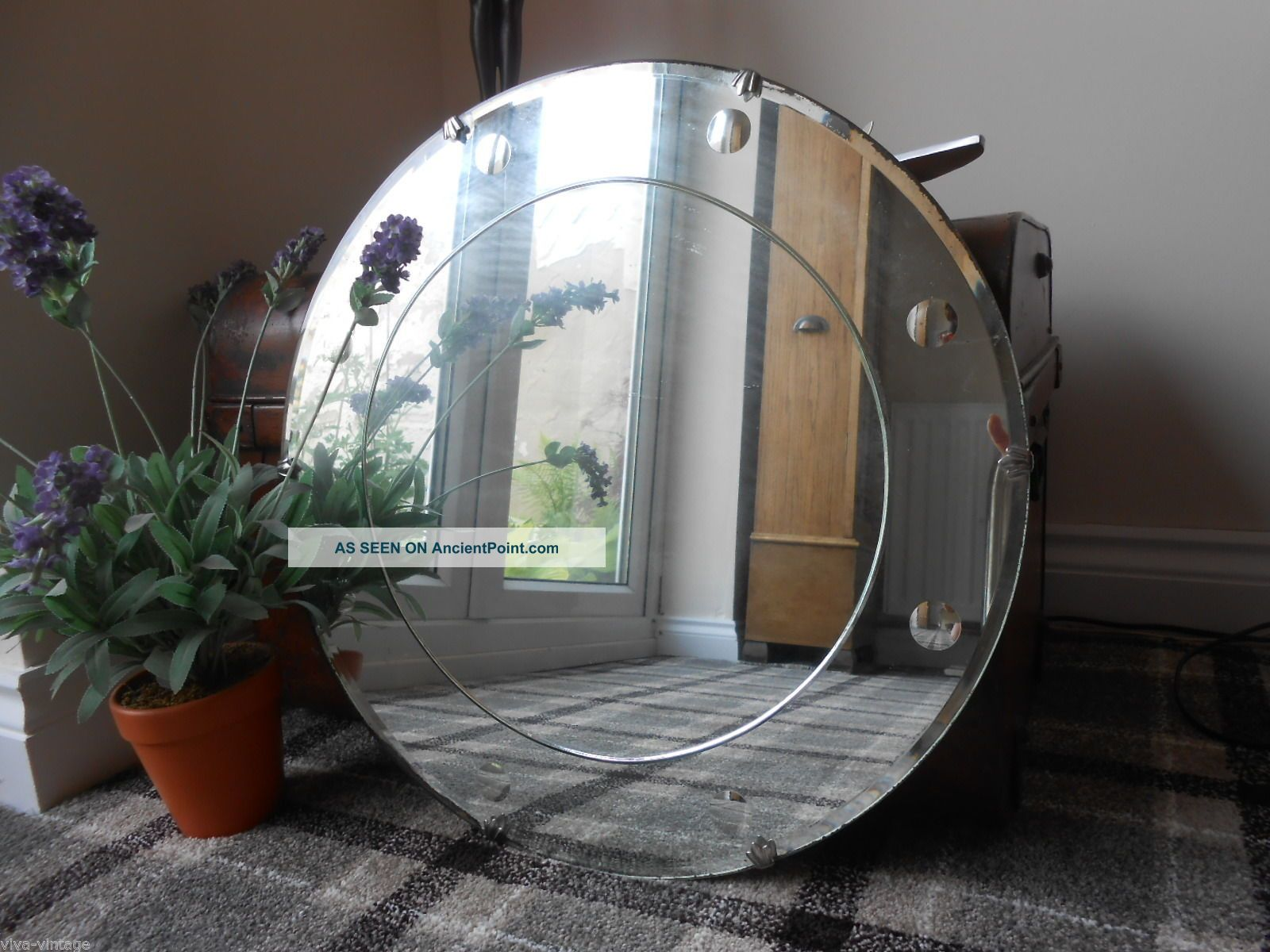 Vintage Art Deco Large Circular Bevelled Edge Etched Antique Frameless Mirror
