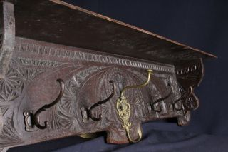 Wow A Lovely Antique Hand Carved Dutch Coat Rack Wall Rack Hat Rack photo